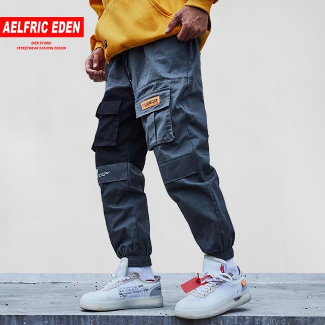 Aelfric Eden 2018 Bolsos de Carga Calças Dos Homens de Cor Patchwork Moda Tactical Calças Basculador Casuais Maré Harajuku Streetwear KJ334