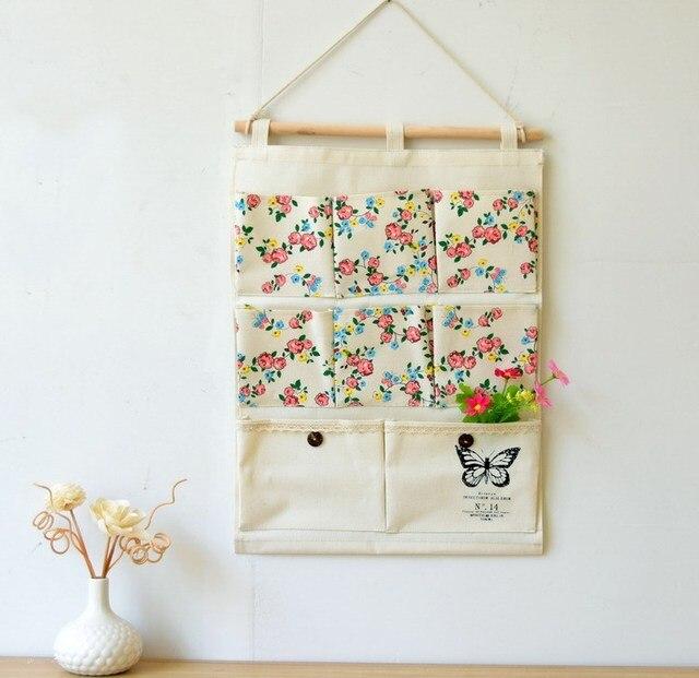Flower Design Storage Holder With 8pocket Letter Wall Hanger Bag Fabric Key