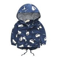 Infant Kids Boys Spring Jacket Coat Long Sleeve Hoodie Cartoon Jacket Overcoat Pocket Casual Outerwear Baby