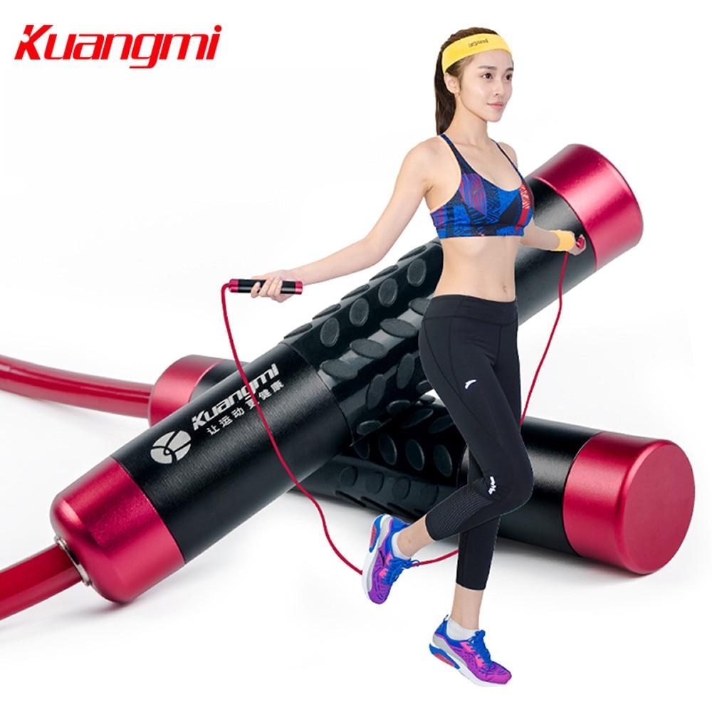 Kuangmi 1 Piece Weight Skip Rope Adjustable Bearing Skipping Crossfit Women Man Fitness Exercise PVC Jump
