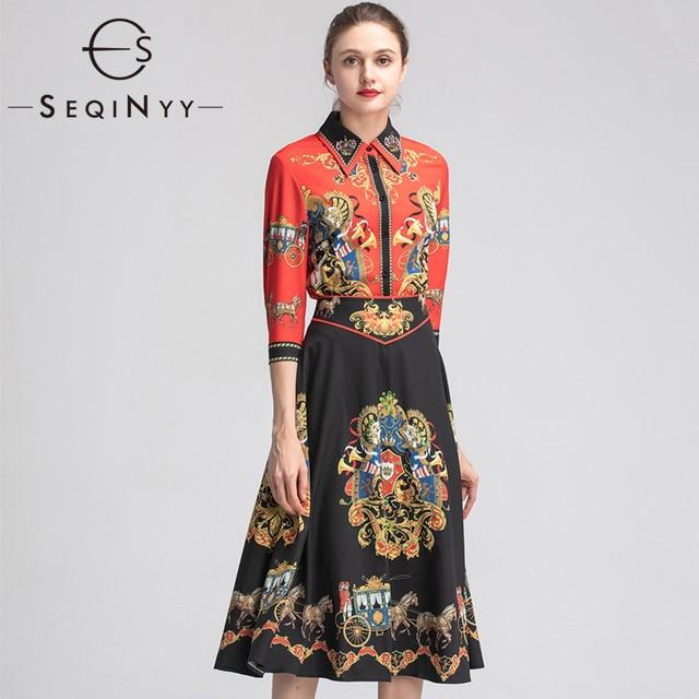 9dff8a33d SEQINYY الأزياء مجموعة 2019 الصيف ربيع جديد تصميم كريستال الأحمر قميص +  أسود طويل تنورة خمر الزهور المطبوعة دعوى النساء