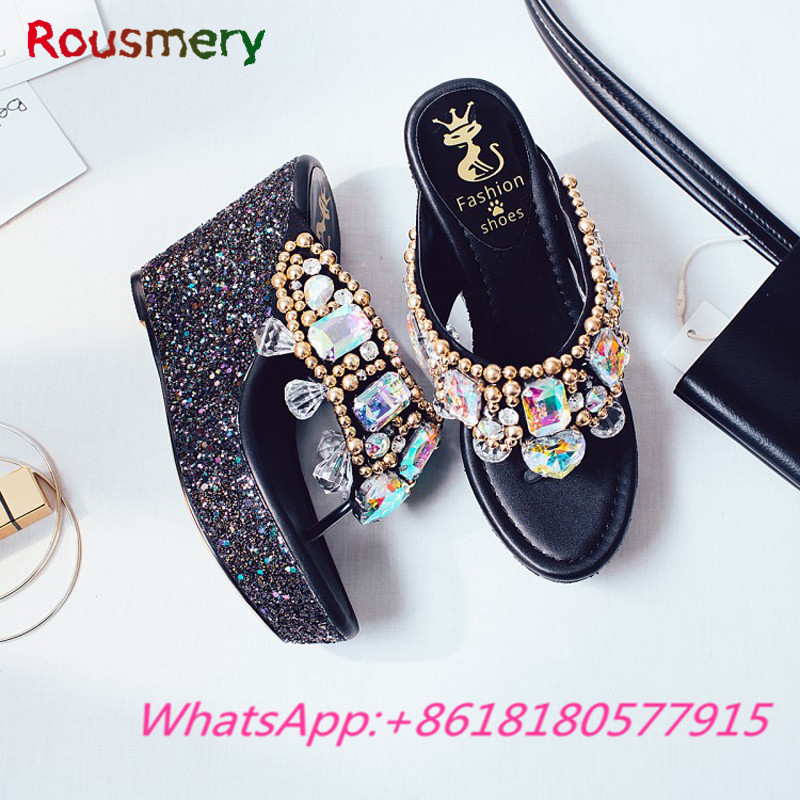 Bling Crytal Metal Decoration Wedges High Heels Woman Slippers Summer Outside Platform Zapatos Mujer Tacon Attractive Woman Shoe