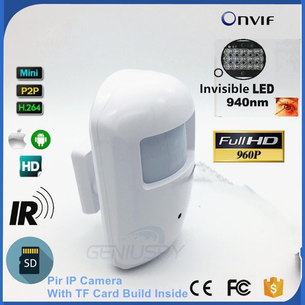 Новый 960 P HD Nihgt видение 940nm ИК детектор движения Pir Стиль безопасности мини IP Камера Ethernet Onvif SD карты слот Аудио