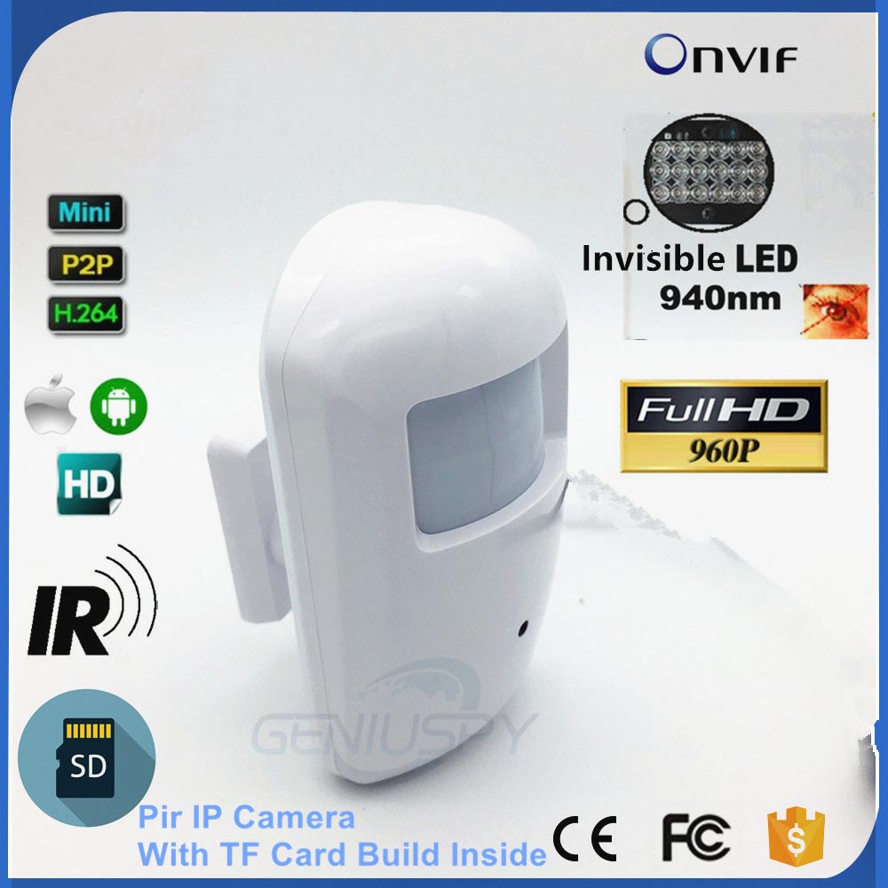 New 960P HD Nihgt Vision 940nm IR Pir Motion Detector Style Security Mini IP Camera Ethernet Onvif SD Card Slot Audio