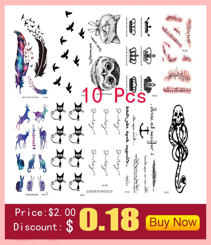 10 PCS Men Women Fake Tattoo sleeve Many cute animals Cat butterfly flower Body Art Flash Waterproof Temporary Tattoos Stickers 5