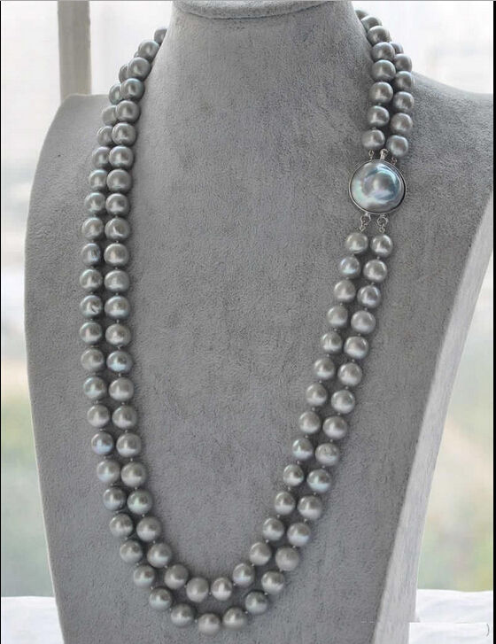free shipping DOUBLE STRANDS 9-10MM GENUINE SOUTH SEA GRAY PEARL NECKLACE 20 INCH rfree shipping DOUBLE STRANDS 9-10MM GENUINE SOUTH SEA GRAY PEARL NECKLACE 20 INCH r