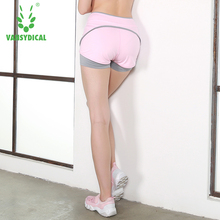 Women Black White Layered Yoga Shorts