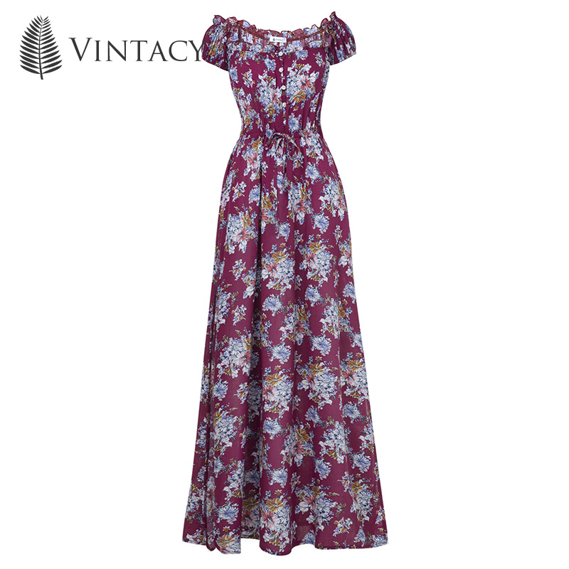 1f313f135e3 Vintacy summer women long maxi dress Print a line Plus Size beach vacation  dresses loose casual spring party female long dress-in Dresses from Women s  ...