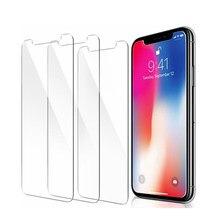 3 pçs protetor de tela vidro temperado para iphone x xr xs max 8 7 6 s mais 5 5S se filme protetor de tela telefone verre tremp coque