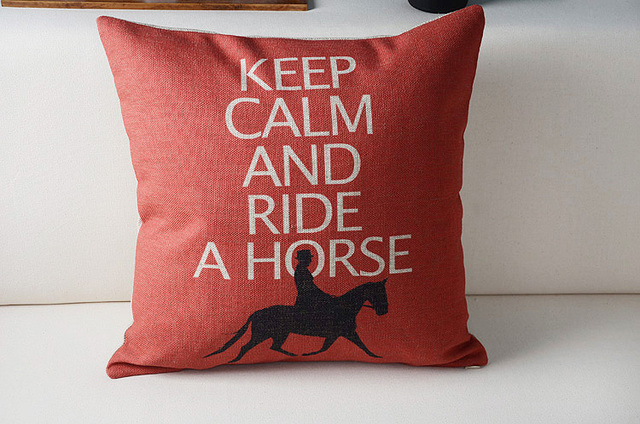 Free Shipping Christmas Gift Keep Calm And Ride A Horse Words Man Ride  Horse Pattern Cushion