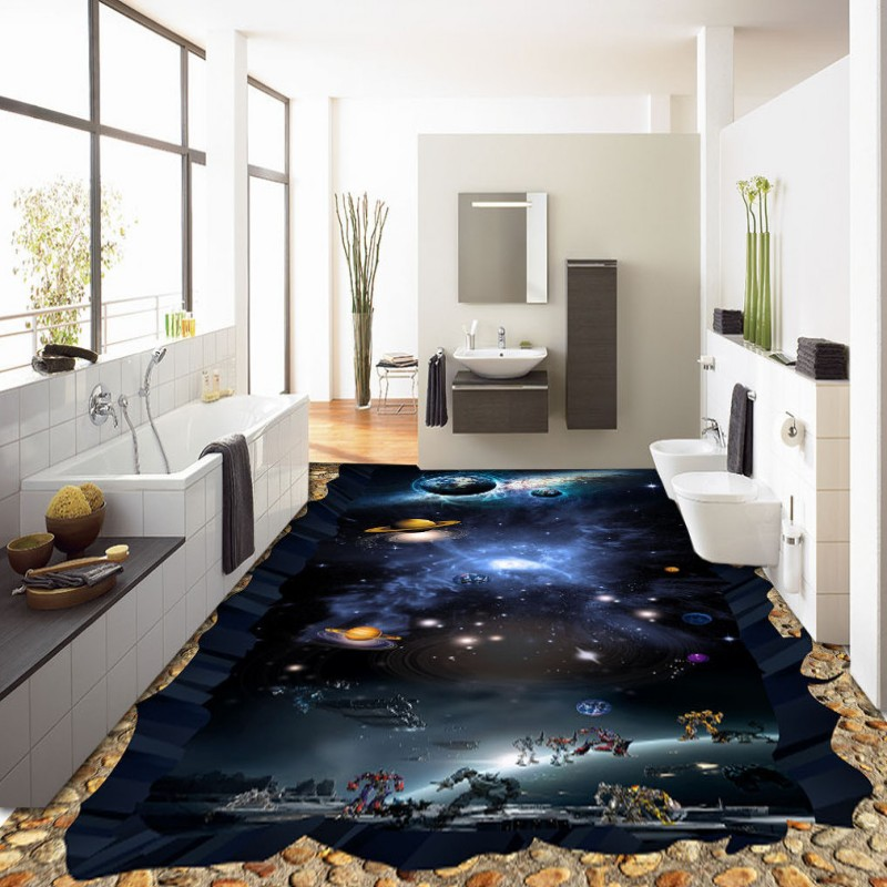 Free Shipping Cosmic Star Earth 3D flooring thickened waterproof home decoration bathroom bedroom flooring wallpaper mural