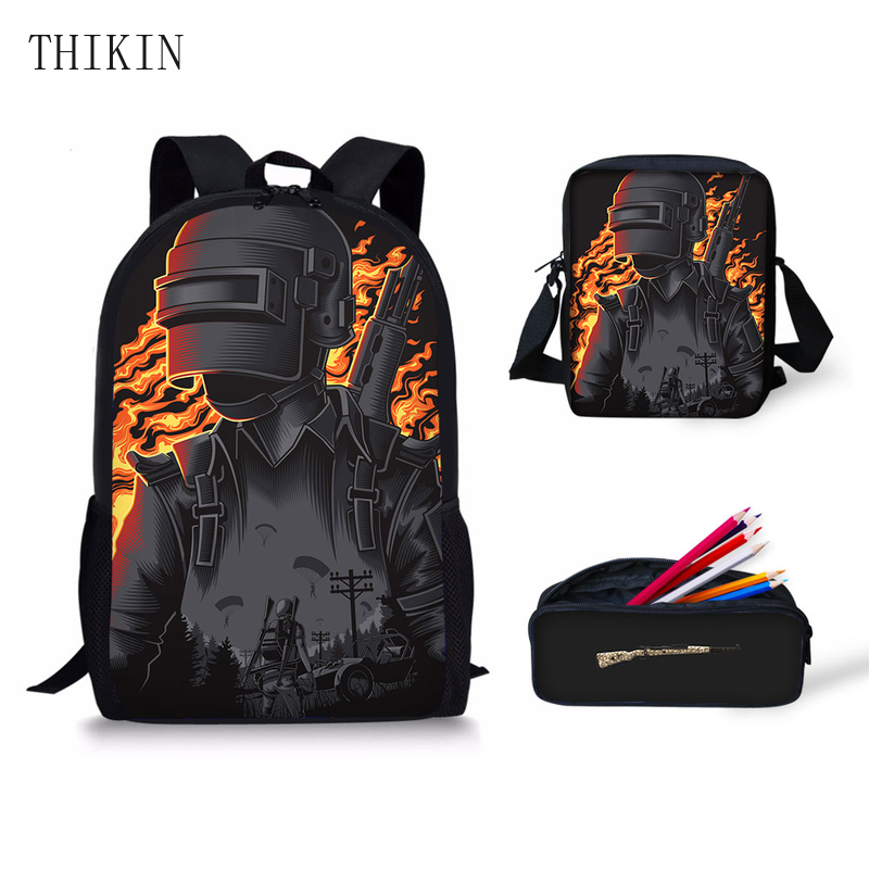 THIKIN New Hot Game PUBG Printed Men Backpack Teenager Boys Lunch Box Pencil Case School Children's Gifts Variety Wholesale