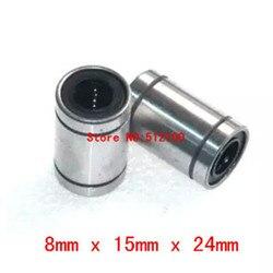 O Envio gratuito de 100 pçs/lote LM8UU 8 milímetros Linear Rolamento De Esferas 8x15x24mm