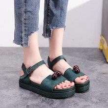 2019 New Fashion Women Sandals Platform Flat Green/Black Spring/Summer Female Shoes Casual Lady Woman Footwear