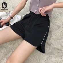 Shorts Elegant Korean Style Sweet Elastic Waist School Students Loose Striped Women Short Womens Pockets Summer Fashion Newest