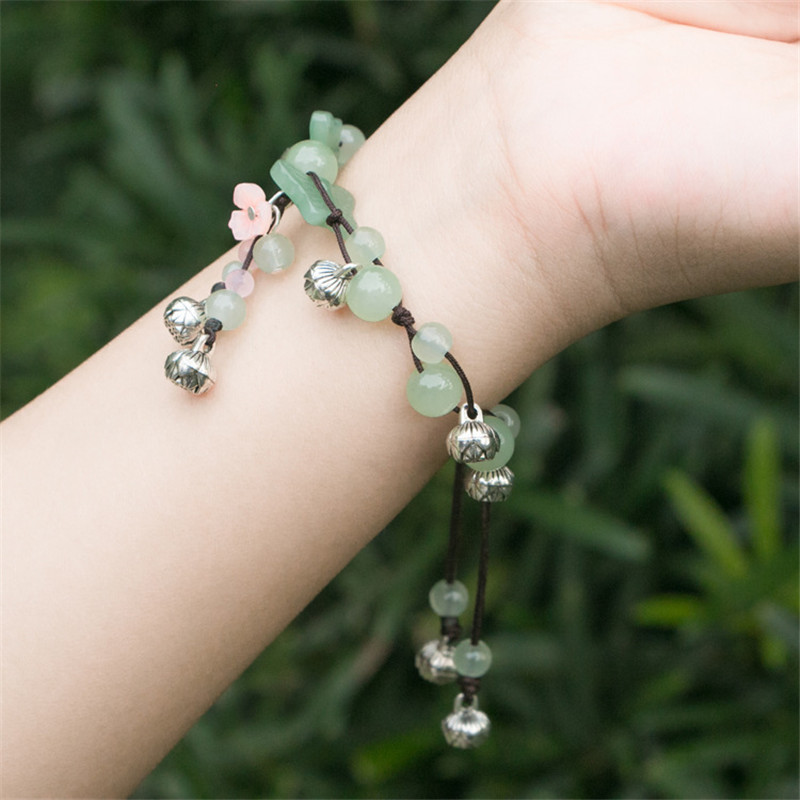 bracelet for women green beaded flower concise trendy fashion jewelry accessories rope chain charm bracelets free shipping BS51