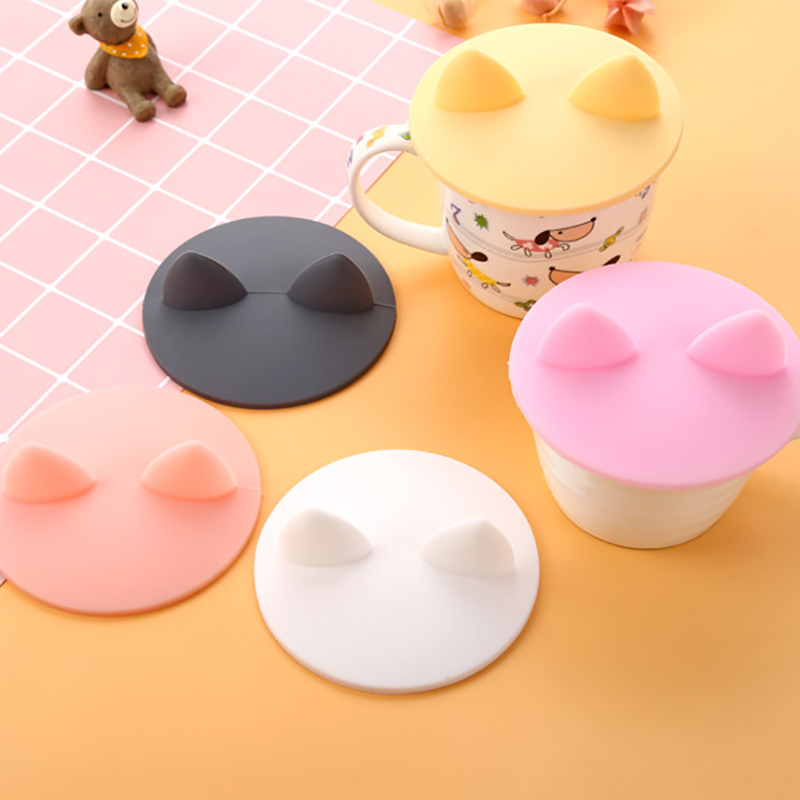 Anti-dust Silicone Cup Cover Animals Cats Ears-Shaped Coffee Suction Seal Lid Heat-Resistant Dustproof Cap CUP Cover Dropship
