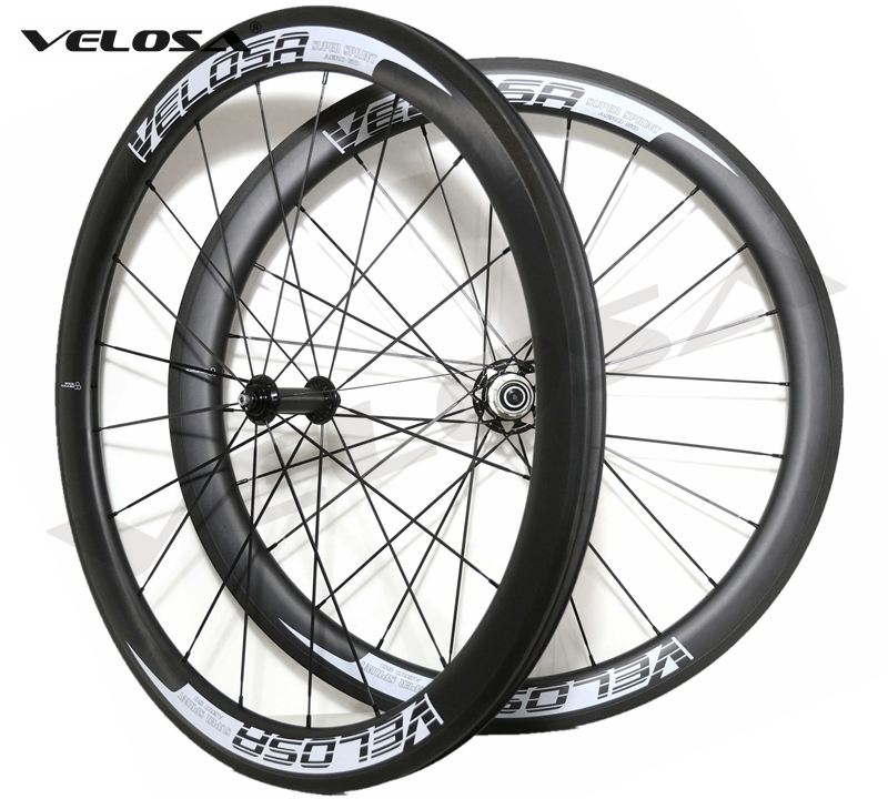 Velosa Sprint 50 bike carbon wheelset,50mm clincher/tubular 700C road bike wheel,2:1 carbon hubs,super light pillar 1420 spokes