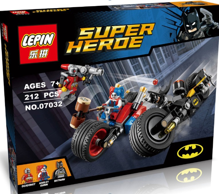 ФОТО lepin 07032 super hero minifigures mighty micros deadshot harley queen batman with motorcycle blocks toys compatible with
