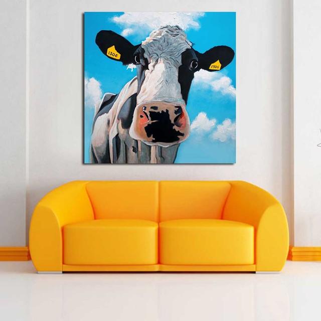 Jqhyart pinturas para sala color vaca pinturas sobre lienzo pintura ...