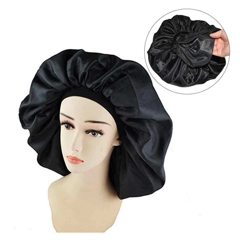 Новая водонепроницаемая шапочка для душа Женская защита для волос большой Атлас шелковая шляпа шапочка для сна Роскошная ткань Премиум эластичная лента