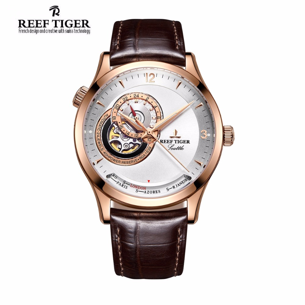 2017 Reef Tiger/RT Men's Casual Watches Luxury Rose Gold Automatic Watches Designer Watch RGA1693 2x yongnuo yn600ex rt yn e3 rt master flash speedlite for canon rt radio trigger system st e3 rt 600ex rt 5d3 7d 6d 70d 60d 5d