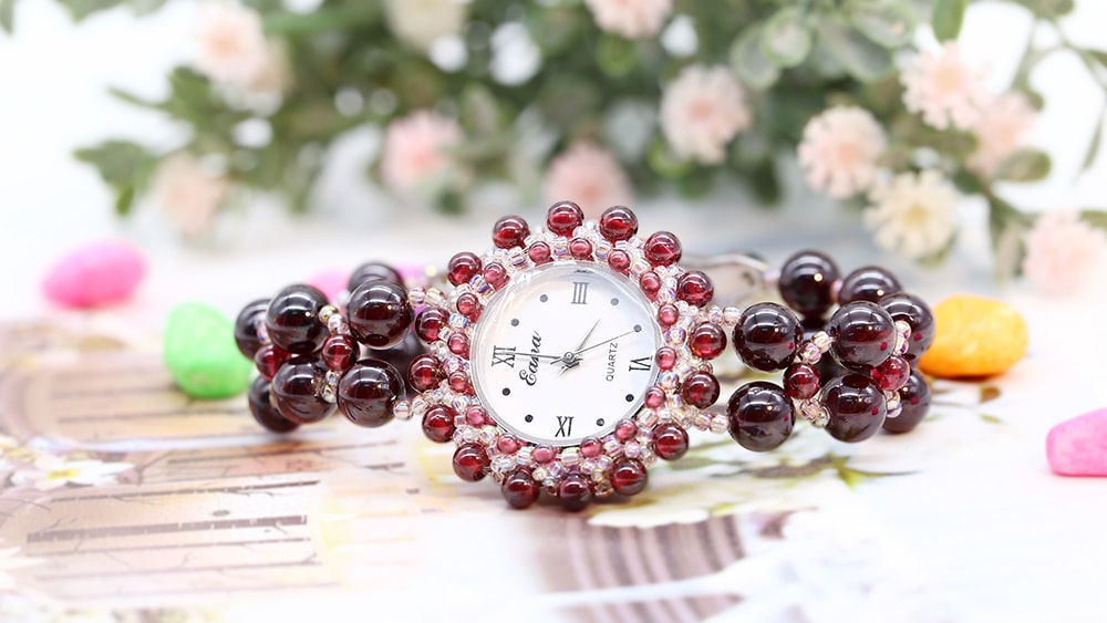 Mostrador Redondo Relógio Natural Garnet Red Wine