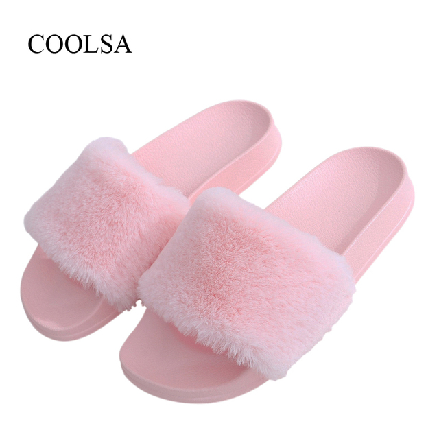 Coolsa New Women S Brand Furry Slippers Faux Fur Slippers