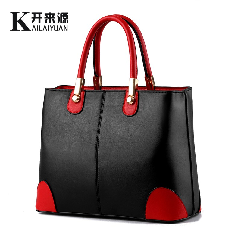 100 Genuine leather Women handbags 2019 New bag lady in black and white ladies fashion handbags Shoulder Messenger Handbag in Top Handle Bags from Luggage Bags