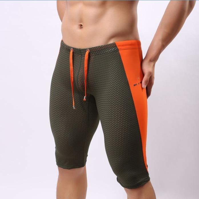 bf6c9e29353b Pantalones cortos de playa para hombre sexy Tight Short Boxer largo ...