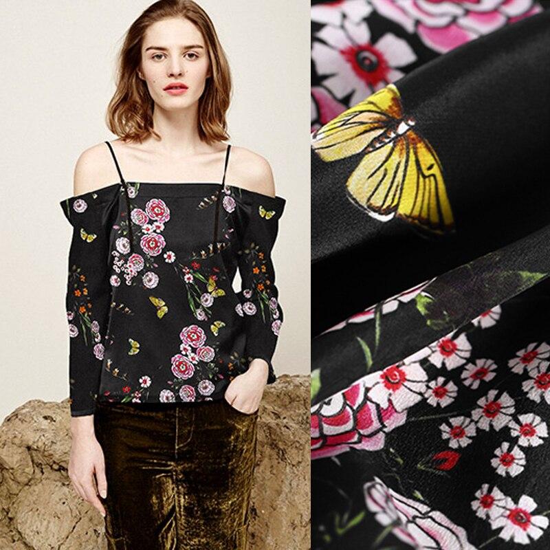 Bloemenprint Zwarte Zijden Crêpe De Chine Stof voor Zomer Dress Shirt Sjaal Cheongsam Rok 140 cm Breed 18mm dikke DE767