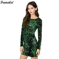 Autumn Winter Special Occasion Long Sleeve Sequined Bodycon Mini Dress Green 599