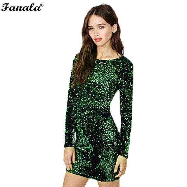 Платье с пайетками 2017, женская обувь пайетками облегающее платье партии блестками платья с длинным рукавом Футболка Мини платье Зеленый Vestidos De Fiesta