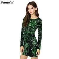 Vestito di paillette Delle Donne 2018 paillettes Vestito Aderente Del Partito Abiti di Paillettes T shirt A Manica Lunga Mini Vestito Verde Vestidos de fiesta