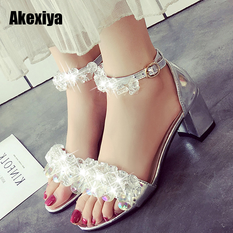 Women Sandals 2018 Summer Shoes Women Open Toe Crystal Chunky Heels Sandals Rhinestone Shoes Black m636 summer rhinestone sequins women sandals fashion string bead chunky heels leisure open toe outwear black beige sandalia feminina
