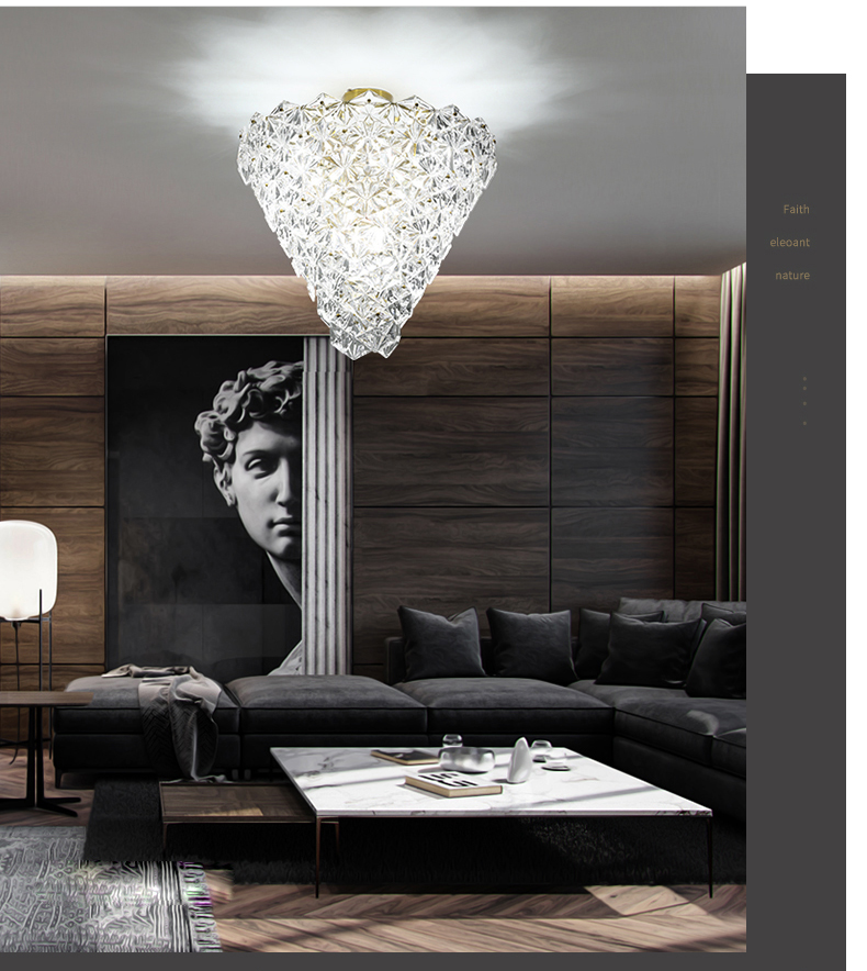 Modern Crystal Glass Ceiling Lights Fixture LED Light American Snow Flower Ceiling Lamps Bed Living Room Home Indoor Lighting - 5