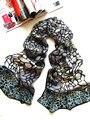 [ Шелковый Jarcquard шарф ] 50 см * 170 см печать длинный шарф / 100% натуральный шелк / новый 2014 весна лето / камень шаблон - классический черный и серый