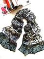 [ seda Jarcquard bufanda ] 50 cm * 170 cm larga Scarf / 100% seda Natural / nuevo 2014 primavera verano / patrón piedra clásico negro y gris