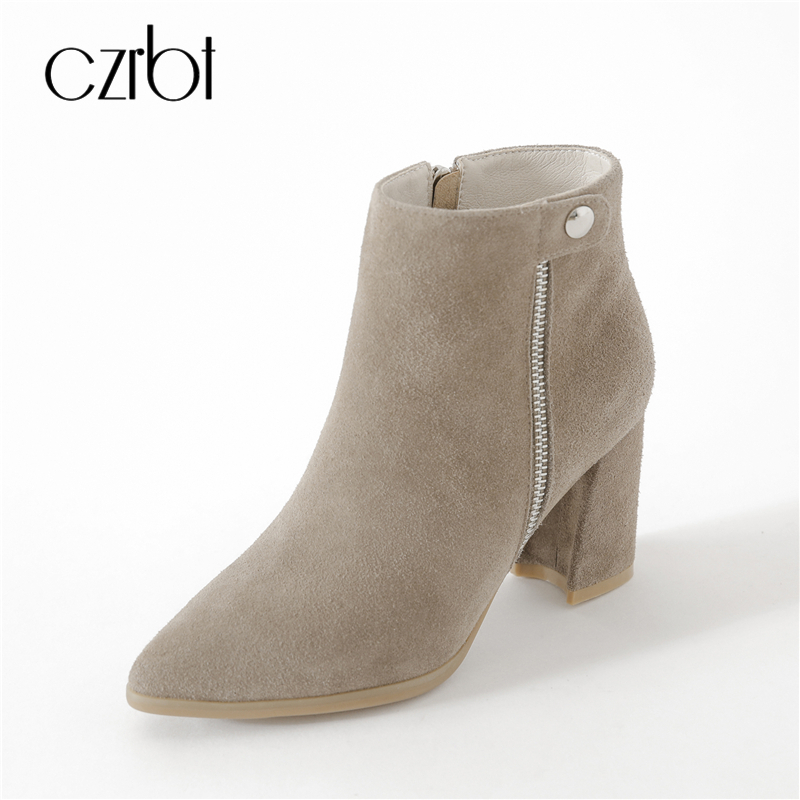 CZRBT High Quality Women Boots Autumn Winter Cow Suede High Heel Boots Woman Pointed Toe Zipper Ankle Boots Fashion High Heels woman wedge heel ankle boots 2015 the latest autumn winter fashion zipper pumps boots cross straps woman wedge heel ankle boots
