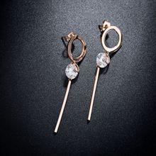 Design de moda Subiu Titânio Ouro Cubic Zirconia Oscila Brincos Para As Mulheres Do Escritório de Aço Perfurada Brincos Círculo Brincos RN01113