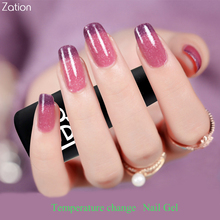 Zation Bling Nail Polish Temperature Change Color Nail Gel Lacquer Glitter Gel Polish Varnish Thermo UV Gel Thermal Nails Primer