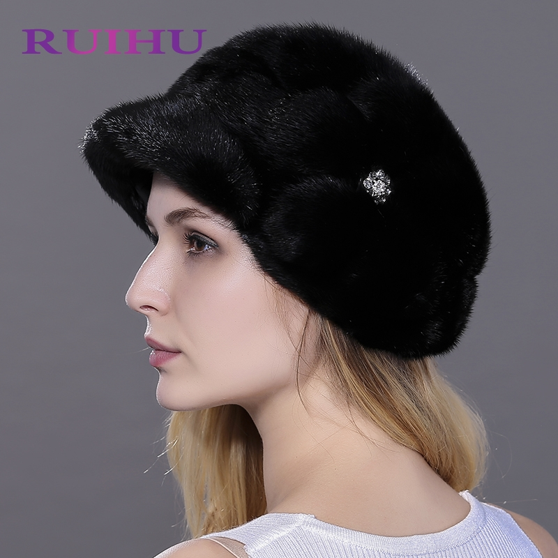 RUIHU Solid Women Hats Mink Fur Knitted Cap For Lady Genuine Real Fur Winter Thick Hat Female Touca Inverno Gorros Chapeu RHM703 genuine mink fur hat for women winter imported whole mink fur cap floral pattern 2015 russian high end luxury female hats