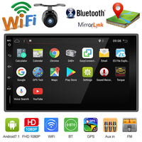 7 Android 9.0 2 DIN Autoradio GPS Navigation Bluetooth Car Stereo Player 1024*600 Touch Screen with USB WIFI USB SD Rear Camera