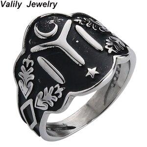 Кольцо Валли 7-13 Ottomans Seal Kayi Ertugrul мужское, Крутое двухцветное Винтажное кольцо из нержавеющей стали со Звездной луной для мужчин, панк украшен...