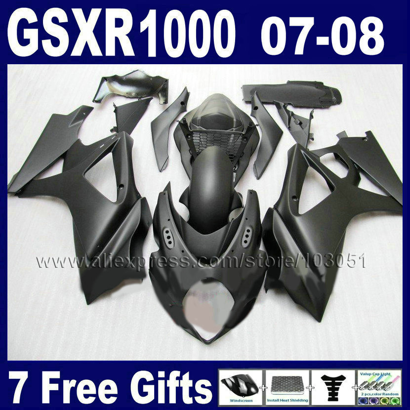 Custom OEM motorcycle fairings <font><b>kit</b></font> for <font><b>SUZUKI</b></font> GSXR 1000 2007 GSXR 1000 2008 <font><b>GSXR1000</b></font> K7 <font><b>K8</b></font> 07 08 matte black bodywork fairing pa image