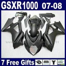 Пользовательские OEM мотоциклов обтекатели комплект для SUZUKI gsx-r 1000 2007 GSXR 1000 2008 GSXR1000 K7 K8 07 08 матовый черный обтекатель кузова pa