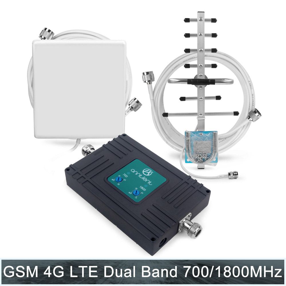 Amplificateur cellulaire 2G 3G GSM 1800 MHz 4G LTE 700 MHz 70dB amplificateur de Signal de téléphone double bande amplificateur de répéteur de données vocales et panneau un ensemble