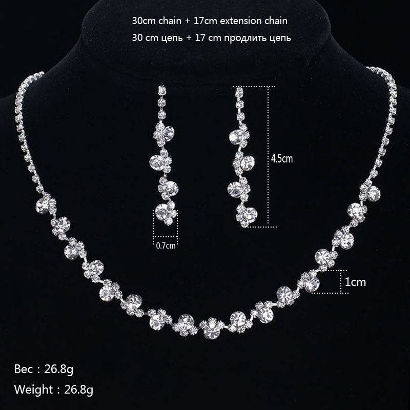 Treazy Crystal Bridal Jewelry Sets Silver Color Charm Fl Wedding Necklace Earrings Bracelet Set Women Accessories In From