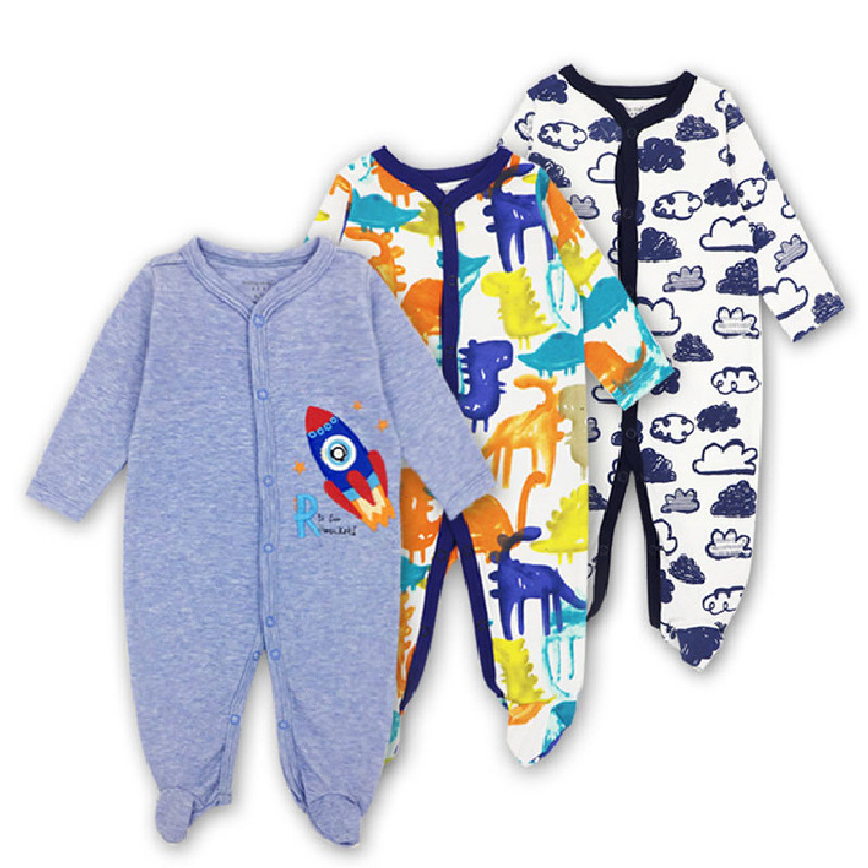 3pcs/lot Spring-Autumn Baby girl Clothes 100% Cotton Long Sleeves Newborn Baby   Rompers   Pajamas Cartoon Printed Infant Jumpsuits