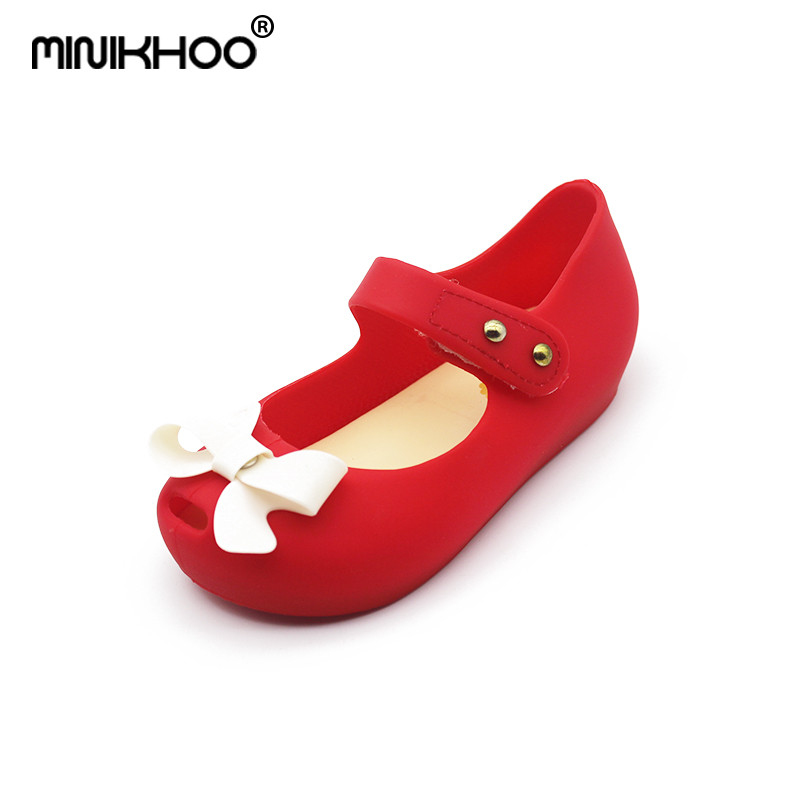 Mini Melissa 2018 Bow Children Shoes Jelly Shoes Soft Girls Sandals Bottom Girls Princess Shoes Girls Baby Melissa Girl Sandals